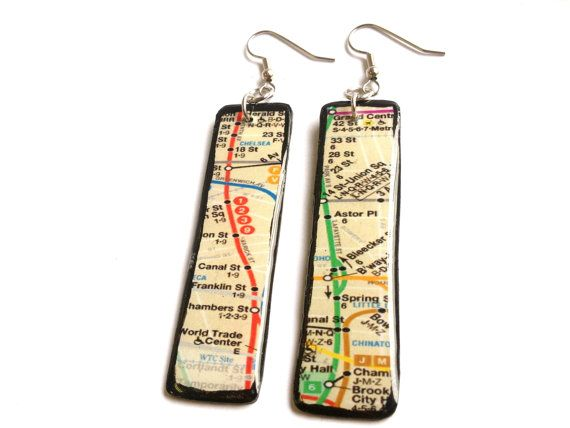 NYC+Subway+Map+Upcycled+Vinyl+Record+Long+Dangle+by+ILLZ360,+$18.00