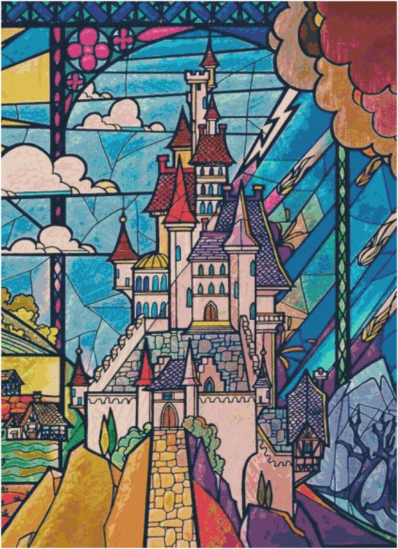 Cross Stitch Pattern  LARGE 18 Ct DISNEY Beauty And The Beast Castle Stained Glass  Pdf File Only