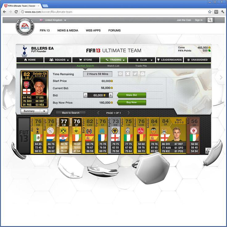 FIFA 13 Ultimate Team Web App Fifa 13, Fifa, News media