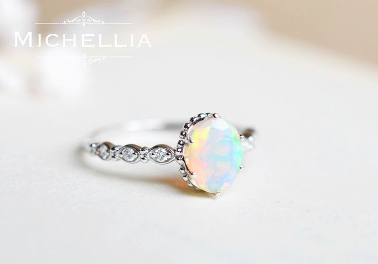 White Gold Opal Engagement Ring with Diamond, 14K or 18K Solid Gold Ethiopian Fire Opal Promise Ring, Rose Gold, October Birthstone by MichelliaDesigns on Etsy https://www.etsy.com/listing/276184860/white-gold-opal-engagement-ring-with