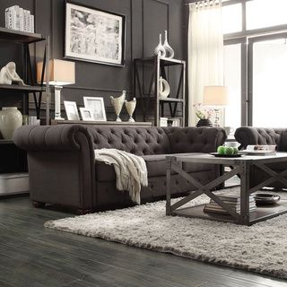Tribecca Home Knightsbridge Dark Grey Tufted Scroll Arm Chesterfield Sofa |  Overstock™ Shopping   Great