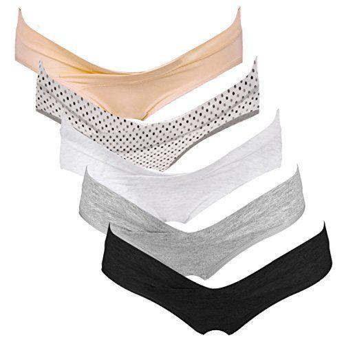 Intimate Portal Women Under the Bump Maternity Panties Pregnancy Underwear 5-pk Neutral Colors Large