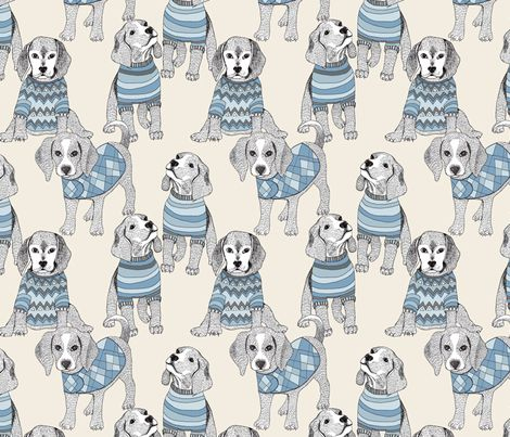 blue beagle fabric by weejock on Spoonflower - custom fabric