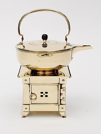 Found on www.botterweg.com - Brass teapot on square stove design execution by Jan Eisenloeffel 1876-1957 / the Netherlands ca.1905