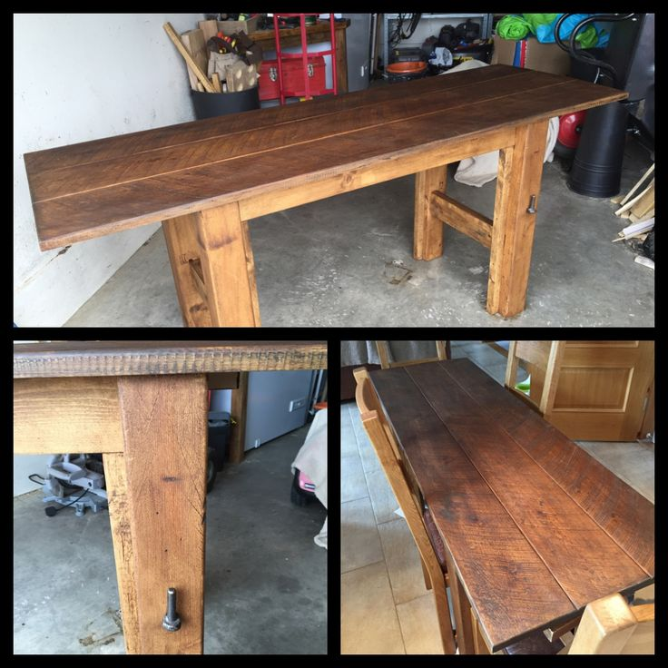 Rustic Dining Table - new boards hand aged, antique pine wax #upcycled