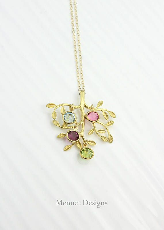 Gold Family Tree Birthstone Necklace, Mother's Day Gift, Bridal Gift for Mothers & Grandmothers, Birthstone Charm Necklace
