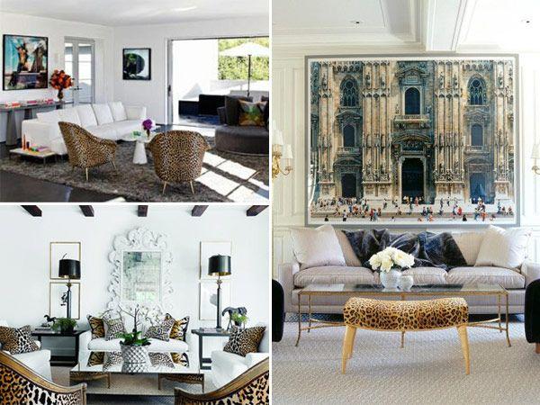 Decoração sala casa poltrona onça quadros