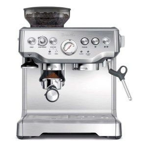 Breville Barista Express Espresso Machine  Built out of high-grade aluminum, the appliance is something that will stick with you for a really long time. It has a fully automatic mode for running and only needs a push of a button to start making excellent espresso shots. You can choose from 3 exterior colors.