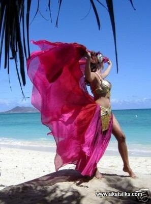 Belly dance silk veil for dancers two tone red and dark pink. $40