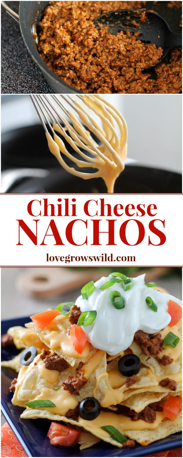 Chili Cheese Nachos are the perfect party food, with layers of beefy chili, homemade cheese sauce, and piled high with tasty toppings! These nachos are epic! Recipe at LoveGrowsWild.com