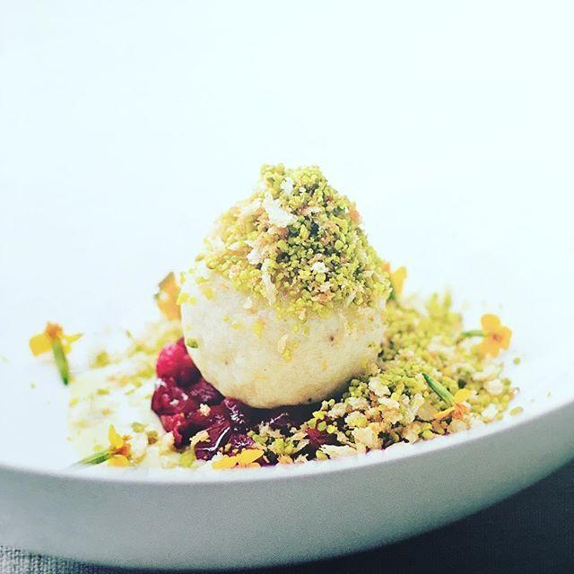German sweet cream cheese dumplings, pistachio vanilla sauce, sweet plum ragout. #germany #isn't #all #sausage #dumpling #knodel #london #foodslut #foodporn #love #new #idea #nofilter #followforfollow #crazy #good #redhead  Yummery - best recipes. Follow Us! #foodporn