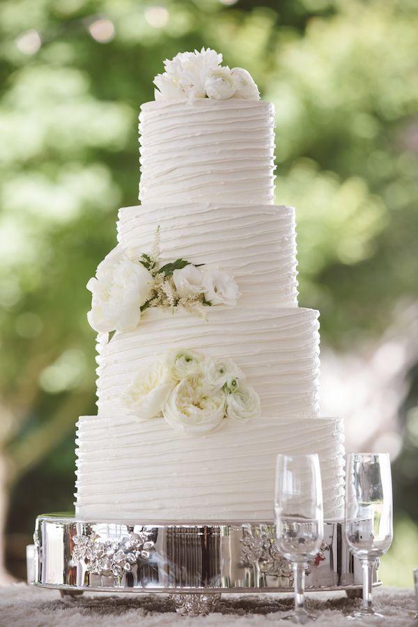 Courtney & Richard's wedding cake made by PPHG pastry chef Jessica Grossman | Lowndes Grove Plantation | Charleston, SC | Photo by Amelia & Dan Photography