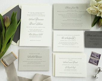 Modern Calligraphy Letterpress Wedding by sofiainvitations on Etsy