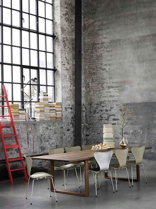 Series 7 chairs by Arne Jacobsen Table: Essay by Cecile Manz.  Danish Interior Design Budapest