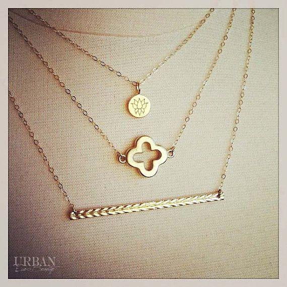 Bohemian 14K Gold Filled Bar Charm Necklace, or Sterling Silver, Layering Necklace, Balance, Gold Bar, Celebrity, Kim Kardashian