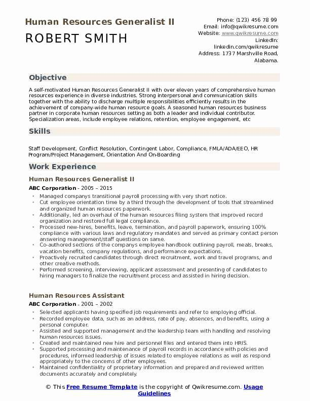 Human Resource Generalist Resume Lovely Human Resources Generalist Resume Samples Job Resume Samples Business Analyst Project Manager Resume
