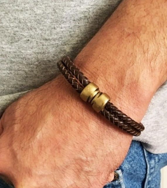 These unisex bracelets are hand made with 2 strands of braided genuine leather and are finished off with a very strong magnetic clasp. A casual style that transcends time. Great gift for husband, wife, boyfriend or girlfriend.  This listing is for 1 leather braided bracelet.