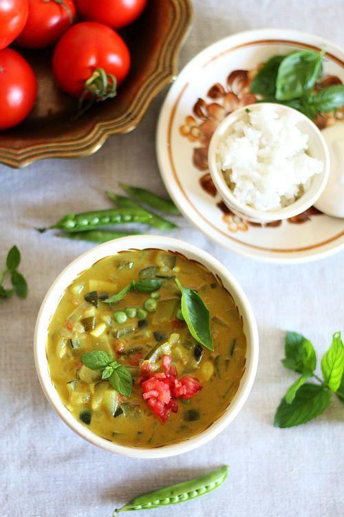 Zielone #curry z cukinią i groszkiem. #thermomix #thermoprzepisy