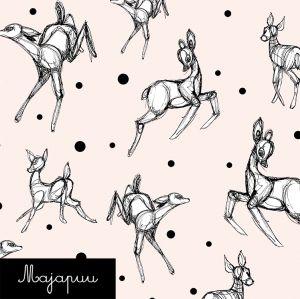 Luomutrikoo: Dancing deer l.valkoinen
