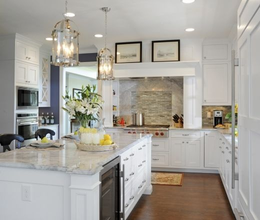Traditional Island Style Blue Kitchen, White Cabinets