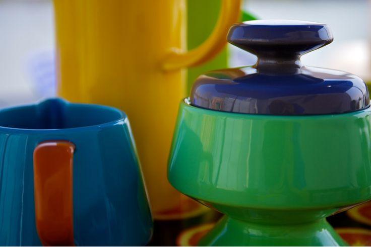 Sagaform Milk Jug, Sugar Bowl and Stelton 'Swiss Yellow' Thermos