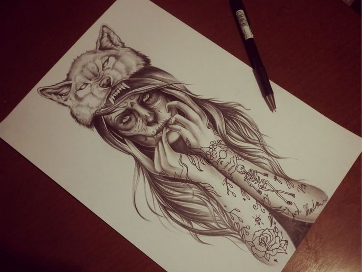 Wolf Girl Tattoo Design by Eirikiss