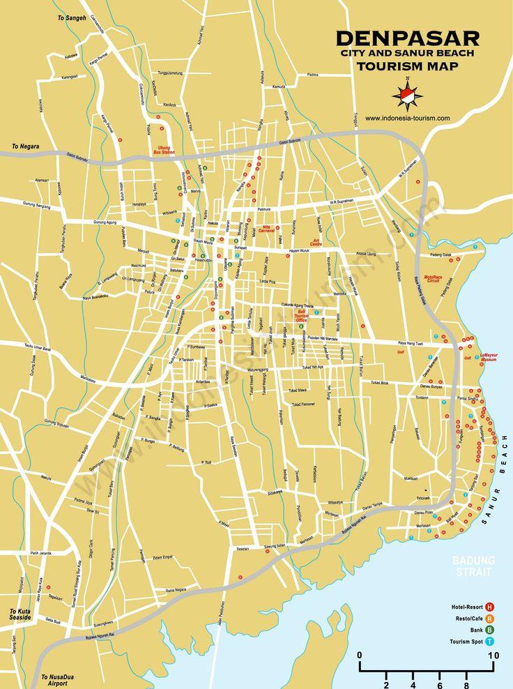 Carte Bali - Denpasar (Indonesia Tourism)