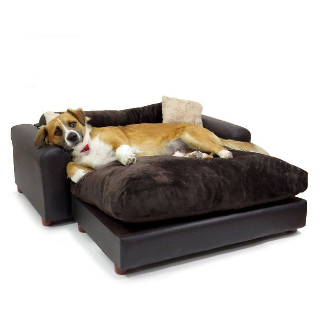 Moots Premium Leatherette Sofa Cat Dog Bed W Removable Cover Espresso Extra Large Chewy Com Leatherette Dog Bed Sleep Comfortably Pet bed with removable cover