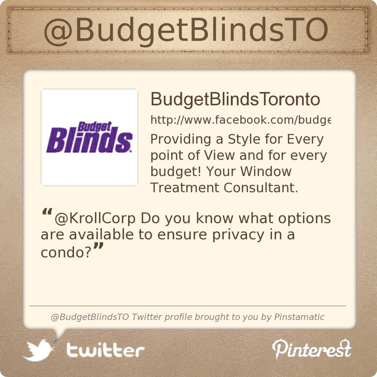 @BudgetBlindsTO's Twitter profile Largest Window Covering Company in the world!