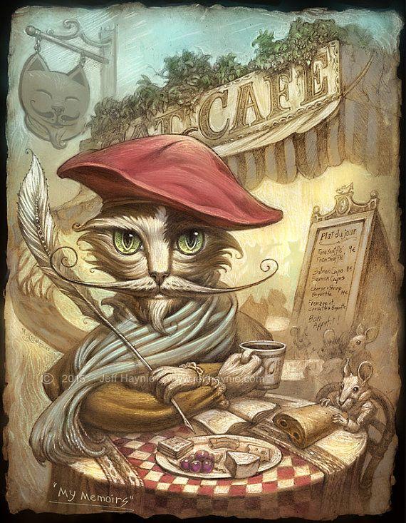 Pariser Cafe Cat / / 8 X 10 PRINT / / Cat Drucken / / Dichter Cat print / / Cat Cafe / / Künstler viktorianischen Cat / / Memoiren