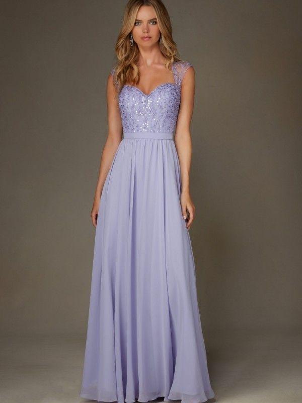 Front light lilac bridesmaid dress