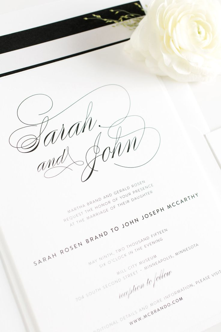 Elegant Calligraphy Wedding Invitations in Black and White