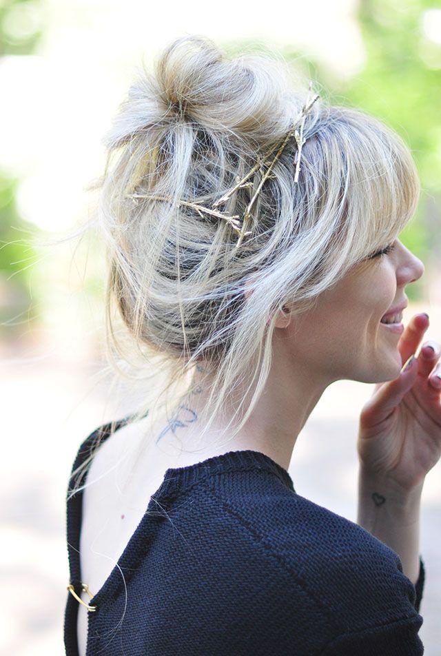 DIY Gold Branch Hair Pins
