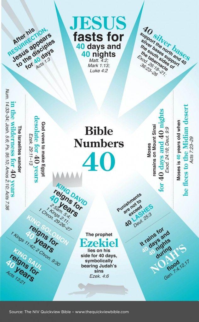 De nummer 40 in de bijbel. Overzicht, afbeelding // Bible Numbers 40 from Quickview Bible. Image.