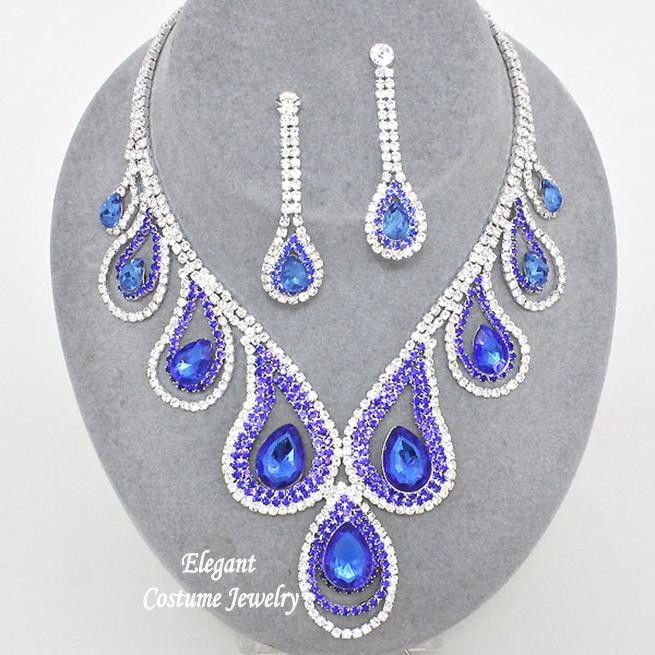Formal Royal Blue Crystal Necklace Set Prom Elegant Chunky