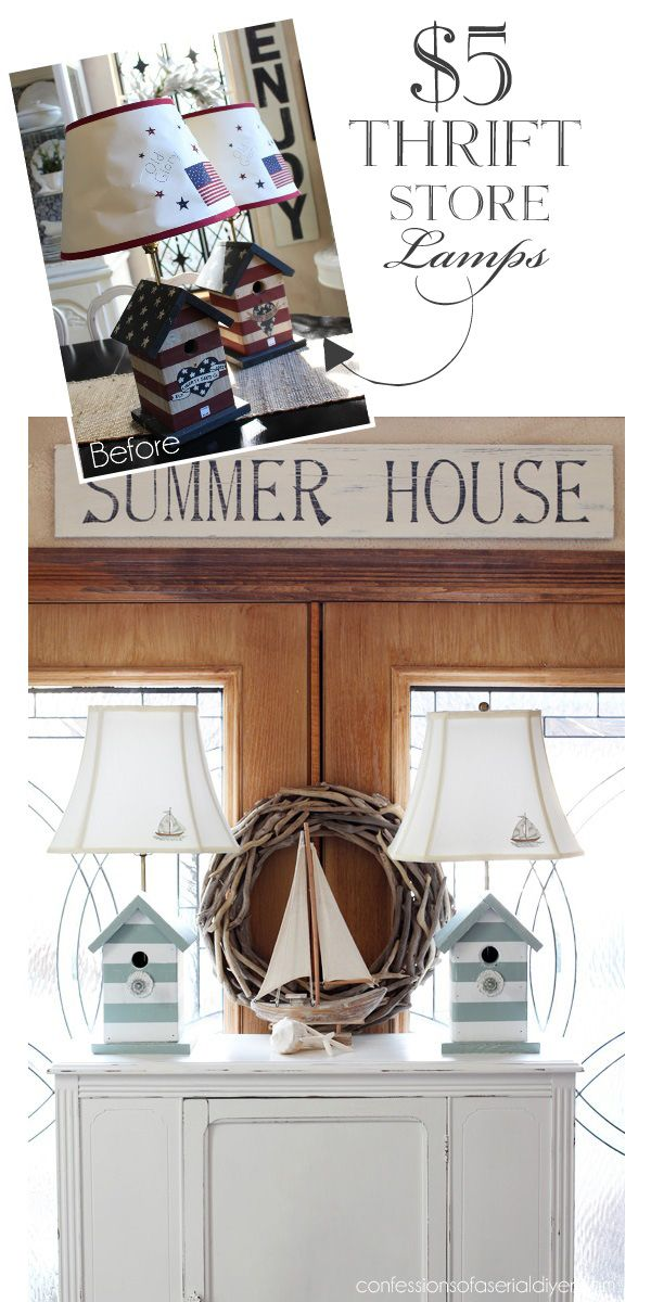 Coastal Inspired Bird House Lamps from Confessions of a Serial Do-it-Yourselfer