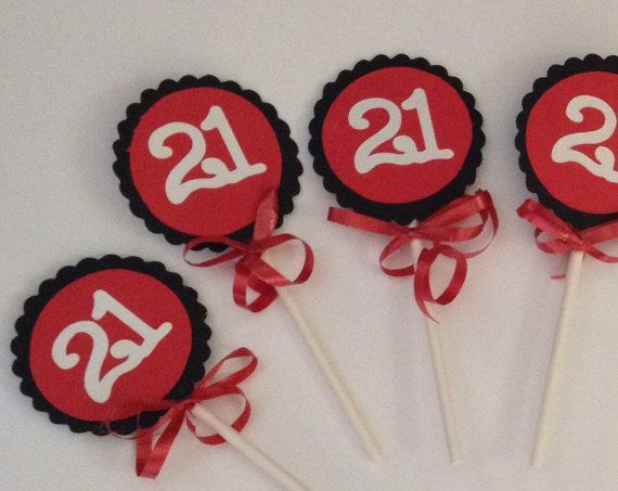 21st Birthday Decorations Cupcake Toppers by FromBeths on Etsy, $10.00