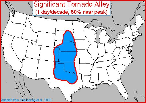 Tornado Alley Image - U.S. Tornado Climatology