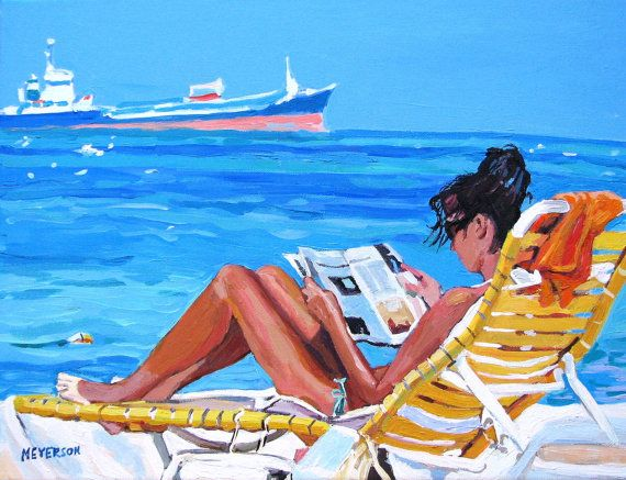 Ah, life at the beach. Woman in lounge chair, reading. Print.