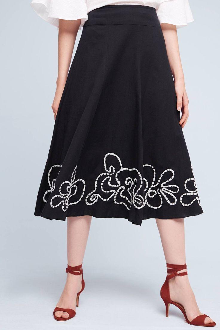 Slide View: 1: Floral Hem Midi Skirt