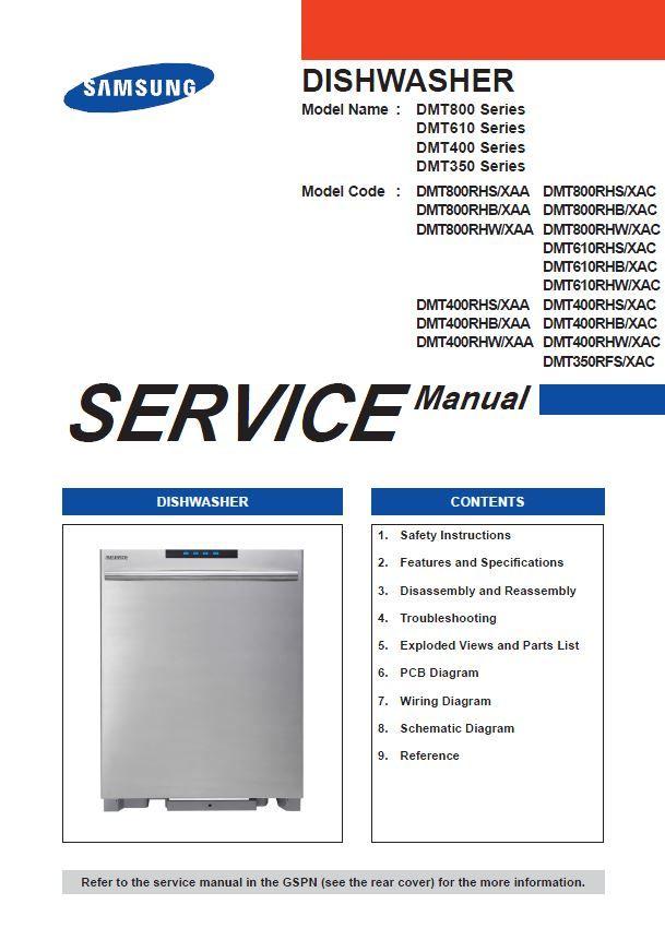 Samsung Dmt400rhb Dmt400rhw Dmt400rhs Dmt350rfs Dishwasher Original Service Repair And Technical Troubleshoot Dishwasher Service Integrated Dishwasher Samsung