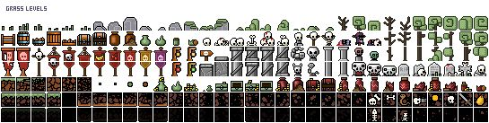 #TinyNecro - Spritesheet of the grass levels in Tiny version 2.0. Pixel art, 8 bit, retro game, IOS, ANDROID. #PearFiction