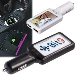 ABS plastic USB car charger Imprint illuminates in use with patented light injection display Charges two devices at once through vehicle lighter port Built in IC anti-surge protection Custom colors available. Please call for details