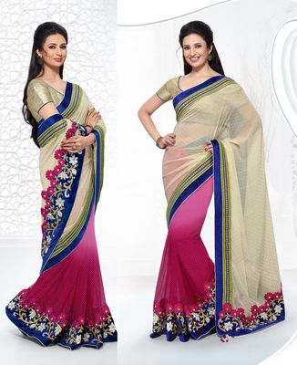 Ishita Light Beige And Shaded Fuchsia Pink Net Party Wear Saree Bollywood Sarees Online on Shimply.com