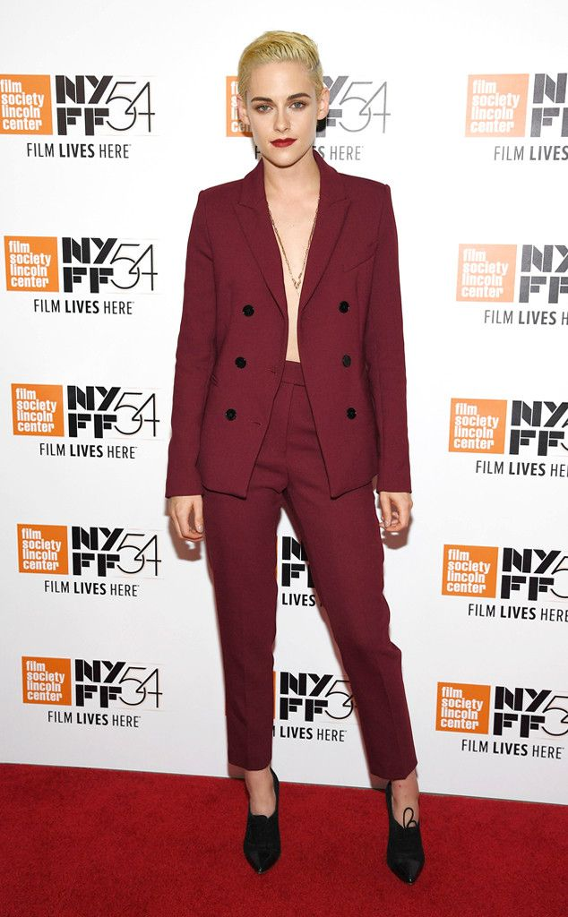 Fine Wine from Fashion Police  Kristen Stewart looks fine in wine at the 2016 New York Film Festival. The actress keeps herlook clean and uncomplicated with slicked-back hair and aSandro jacket withmatching trousers.