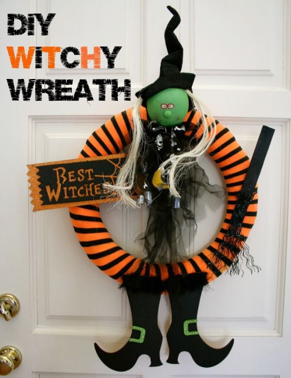a wreath out of whatwhat halloween witch wreathdiy halloween decorationshalloween - Craft Halloween Decorations