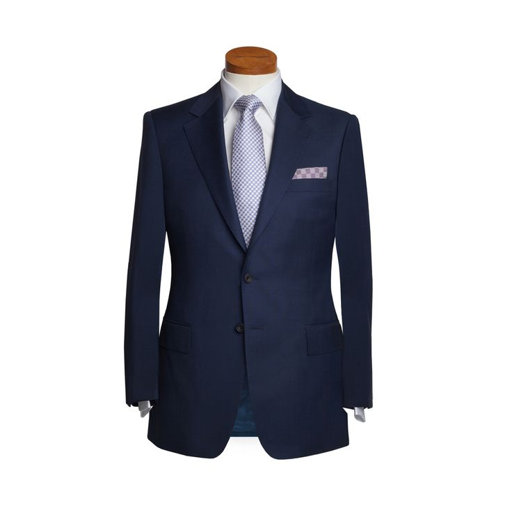 Blue POW Check suit from Dege & Skinner's collection of RTW suits and classic blazers, available to buy online and from the shop at 10 Savile Row in London.