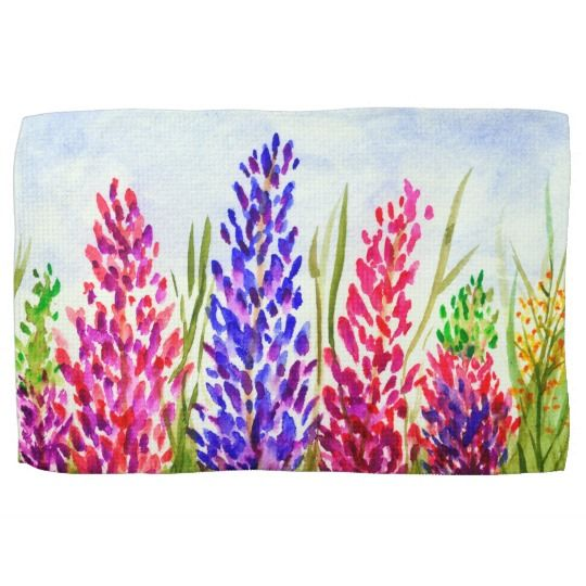 SOLD!!  Watercolor Floral Art Lupine Wildflowers Purple Hand Towel