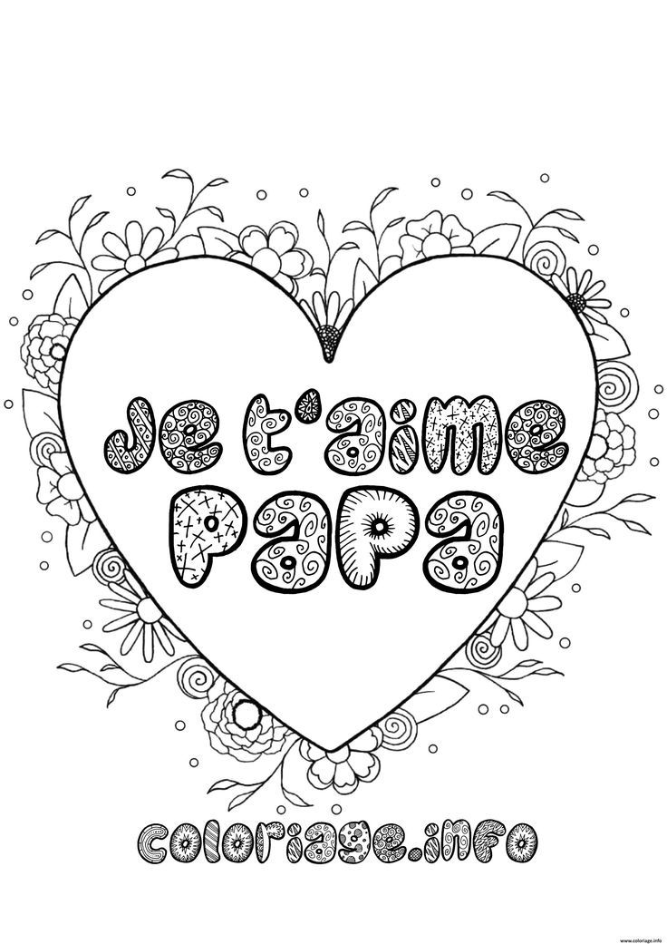 Coloriage Fete Des Peres Je Taime Papa Dessin A Imprimer