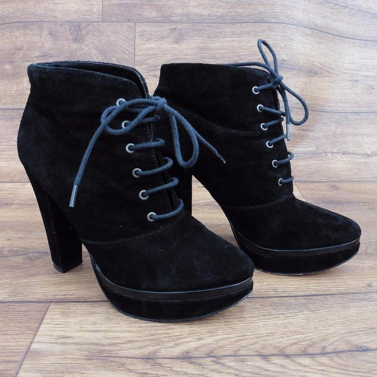 SIZE UK 6 MISS KG KURT GEIGER BLACK SUEDE LACE UP, HIGH HEELED, ANKLE BOOTS